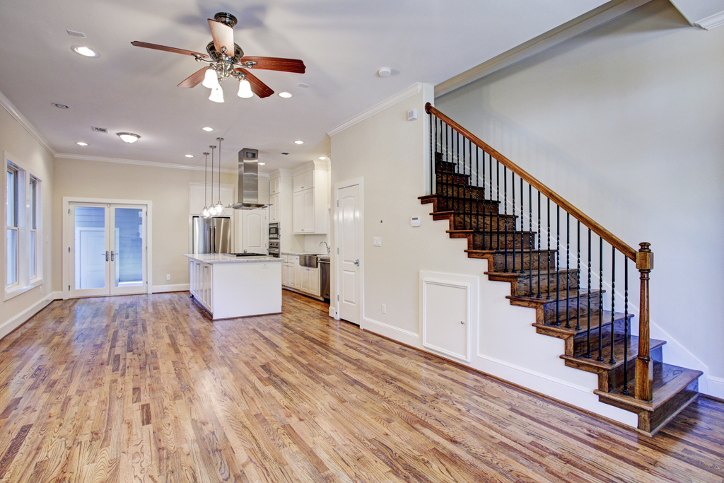 Living Room, Dining, Kitchen, Staircase View